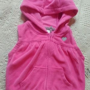 Carter's fleece hooded vest, Pink, 6 months